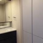 洗面化粧台の両サイドの壁面にアレッシュ
