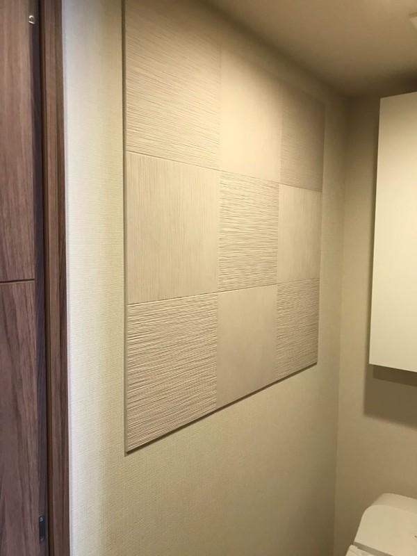 トイレにライトベージュのたけひごを市松で、川崎市