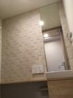 トイレにオーダーミラーとエコカラットプラスのペトラスクエア